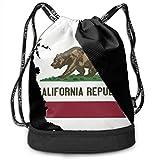 RAINNY Gym Drawstring Sports Bag Simple Quick Dry Bundle Backpack California Republic