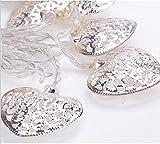 Catena di 10 luci a LED, a forma di cuore, in metallo, luce bianca calda, funzionamento a batteria, per feste, matrimoni, ecc.