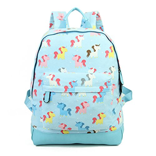 SALE SALE - New KIDS Childrens Designer Style Canvas UNICORN Print Backpack Bag JC Kids 'Back to School' Collection (Light Blue)