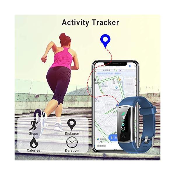 YONMIG Pulsera de Actividad, Pulsera Inteligente Impermeable IP68 con Pulsómetro y Presión Arterial, Monitor de Podómetros, Monitor de Calorías Notificación de Mensaje Deporte para iOS y Android 3