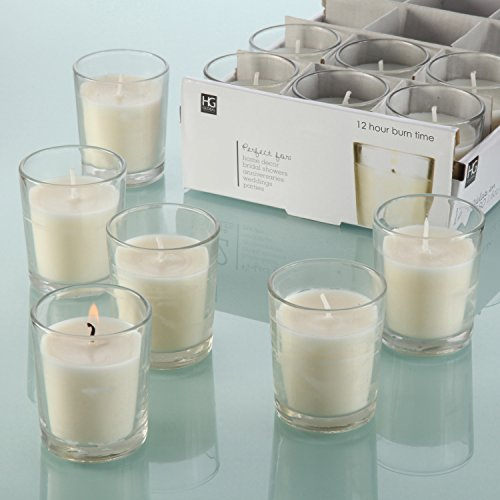 HOSLEY'S Set of 48 Unscented Glass Filled Votive Candles - 12 Hour Burn Time by HG Global