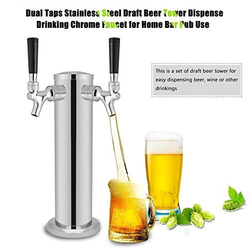 GOTOTOP Doble Taps Acero Inoxidable Torre de Cerveza Grifo de Cromo para Dispensar Bebidas para Uso...