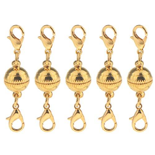 Baoblaze 5 Stück Runde Kugel Magnetische Karabinerhaken Für Halskette Armband Verschlüsse 10mm Haken DIY Making Erkenntnisse - Gold (Halsketten Magnetische Schmuckverschlüsse Für)