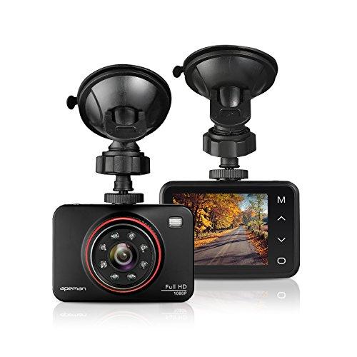 APEMAN Autokamera Dashcam Full HD 1080P DVR mit 170° Weitwinkelobjektiv, Infrarotfunktion, WDR, Bewegungserkennung, Parkmonitor, Loop-Aufnahme, Nachtsicht und G-Sensor