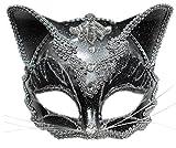 erdbeerclown- Erwachsenen Katze Karneval Faschingsmaske Venezianische Maske, Schwarz, Silber