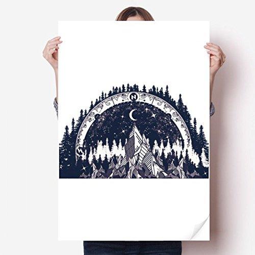 DIYthinker Eisberg Wald-Mond-Kunst-Muster-Vinylwand-Aufkleber-Plakat-Wand Tapete Raum Aufkleber 80X55Cm 80cm x 55cm Mehrfarbig -