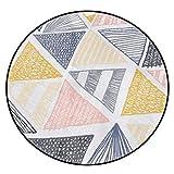 CKH Europäische Minimalistische Moderne Geometrische Muster Runden Matten Schlafzimmer Zimmer hängenden Korb Runden Teppich Home Computer Stuhlmatten (Size : Diameter 100cm)