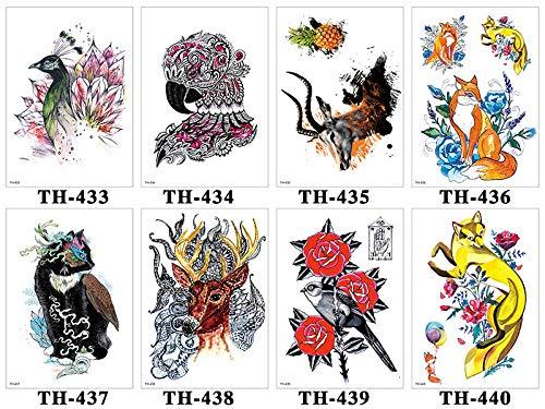 too-Aufkleber Wasserdicht Temporäre Tätowierung Sticker Schwalbe Hund Flash Tattoos Body Art Arm Fake Tattoo Herren, Zirkus Old School, Tiger, Schlange, Fuchs 14X21Cm ()