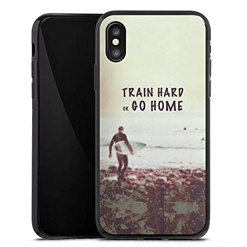 Apple iPhone X Silikon Hülle Case Schutzhülle Sport Training Fitness Silikon Case schwarz
