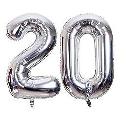 Idea Regalo - SMARCY Palloncini 20 Anni Palloncino per la Decorazione del 20 ° Compleanno (Argento)