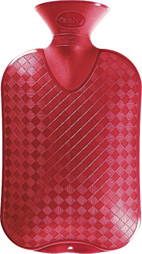 Fashy 6420 42 Wärmflasche, 2.0 L, Halblamelle, Thermoplast, cranberry