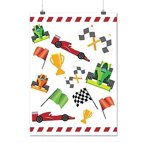 Formule Courses Auto Voiture Voiture Courses Matte/Glacé Affiche A3 (42cm x 30cm) | Wellcoda