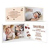 Geburtskarten (50 Stück) - Schnuller - Geburt Babykarten Mädchen Jungen Foto Karten in Fuchsrot