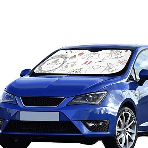 Großer Autosonnenschutz für Windschutzscheibe Princess Tiara Crown Notebook Doodle Faltbarer Sonnenschutz für maximalen UV- und Sonnenschutz Halten Sie Ihr Fahrzeug kühl 140 x 75 cm (55 x 30 Zoll) So -