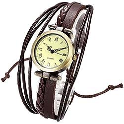 JSDDE Uhren,Vintage Damen Armbanduhr Bronze Rund Damenuhr Gewebte Wickelarmband Lederarmband Analog Quarz Uhr,Braun