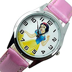 TAPORT® Disney Princess Snow White Quartz Watch PINK Leather Band +FREE SPARE BATTERY+FREE GIFT BAG