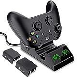 BEBONCOOL Ladestation für Xbox One/One S/One X/Xbox Elite Controller, Schnell Xbox One Controller Ladestation mit LED-Anzeige, 2x 600mAh Xbox Controller Akku mit LED USB Kabel Lade