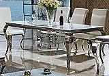Esstisch Lara Designer Luxus Tisch Büro Edelstahl Glas Barock Chrom Schreibtisch Glasplatte Weiss Esstisch Größe 180 cm