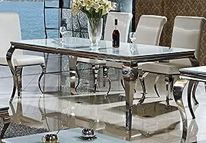 Esstisch Lara Designer Tisch Büro Edelstahl Glas Barock