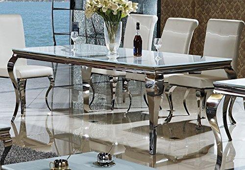 Esstisch 140, 160, 180 o. 200 x 90 x 76 cm Lara weiß Esszimmer Designer Luxus Tisch Büro Edelstahl Glas Barock Chrom Milchglas Schreibtisch (220 x 100 x 76, Weiß)