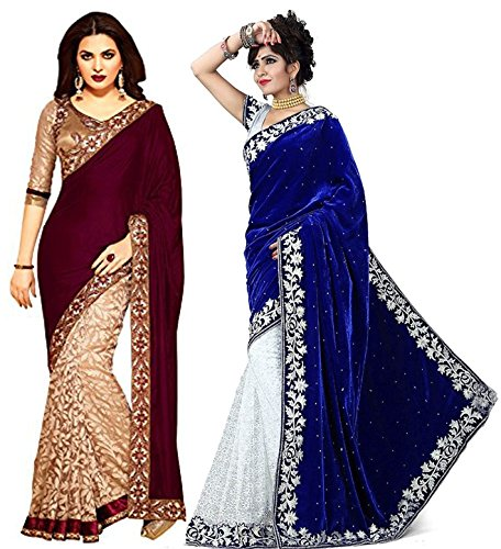 V-Art Velvet & Net Saree (Savalcombo1_Blue-White, Wine-Biege)