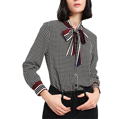 Jianyin Feder Langarm Bluse Kragen Gemischt Drucken Gebunden Hals Bug Plaid Shirt Women Polka Dot Bluse Multi S (Gewebt Patchwork Plaid Shirt)