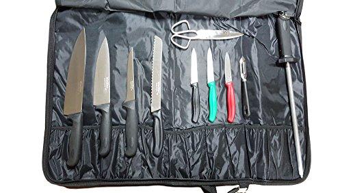 Walter Pop-Up Couverture de Base, avec Couteaux et ustensiles de Cuisine Professionnelle, Acier Inoxydable, Noir, 51 x 19 x 7 cm