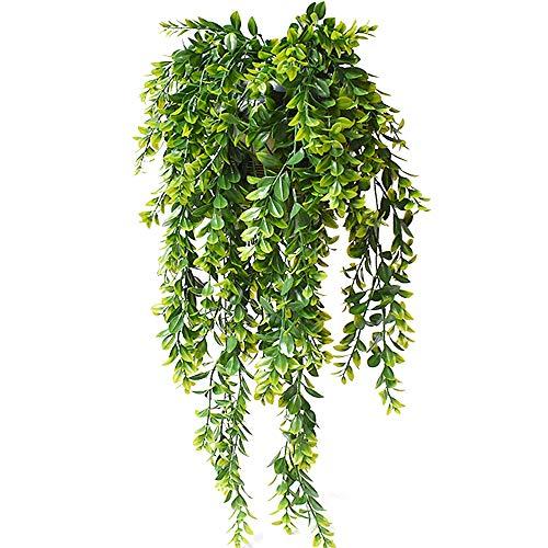 KingYH 2 Pièces Lierre Plantes Suspendues Artificielles Plantes en Plastique Fake Vertes Mur Extérieur Suspendus Plantes Ivy Vigne pour Décoration Balcon Mur de Mariage Maison Jardin