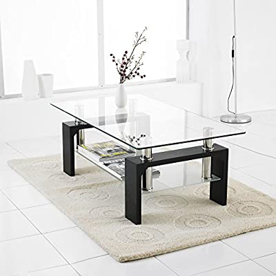 Neotechs® Modern Black Rectangle Clear Glass & Chrome Living Room Coffee Table With Lower Shelf - cheap UK light store.