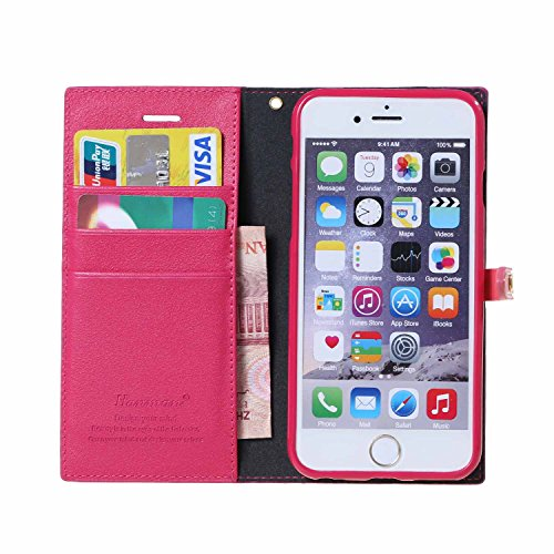Coque iPhone 6S,Coque iPhone 6, MSK® Housse Etui Cuir Portefeuille Pour iPhone 6S/iPhone 6 Case Folio Portefeuille Protection Cover - Brun Rose