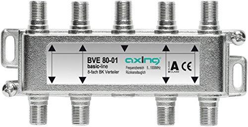 Axing BVE 80-01 8-Fach BK-Verteiler (5-1000 MHz) für Kabelfernsehen und DVB-T2 HD, F-Anschlüsse