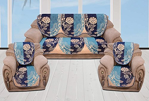 INDIA ONLINE Sofa Cover Heavy Cotton Cloth 5 Seater Set -6 Pieces- Blue (Flower Design)