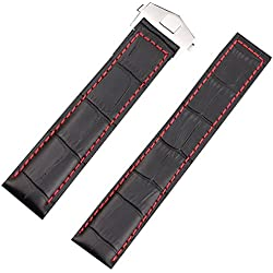 20mm Genuine Leather Watch Strap Fit Tag Watch Heuer Strap Deployment Clasp Carerra Red Stitching