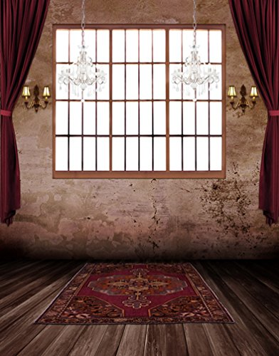 Weinlese-Raum-hölzerner Fußboden-Teppich-rote Schirm-Fotographie Backdrops-Foto-Stütze-Studio-Hintergrund 5x7ft