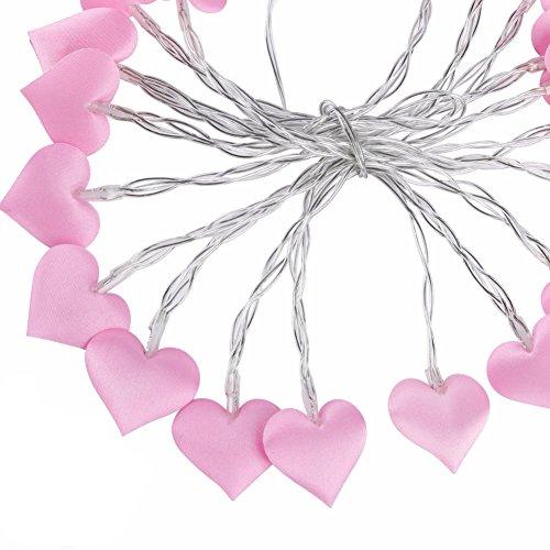 Forepin 3m 20 led stringhe di luce a forma di cuore rosa alimentato a usb luci di fata per patio natale camera da letto di nozze esterna coperta princess castle play tents (bianco caldo)