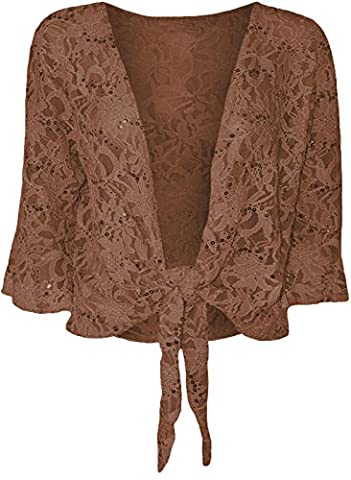 Top Fashion Frauen Damen Plus Size Top Pailletten Tie Spitze Bolero ausgestellte 3/4-Ärmel Größe 36-48
