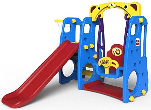 128x161x124 Gartenrutsche mit Schaukel und Basketball fur Kinder Blau