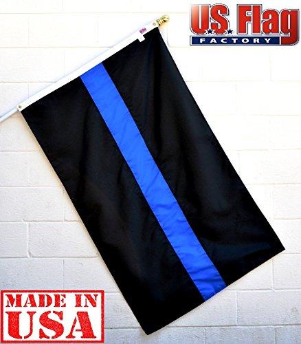 US Flag Factory 3'X5' Thin Blue Line Flag (Sewn Stripes) per agenti esterni-Solarmax nylon Flag-100% Made in America--vedi foto per Authentic