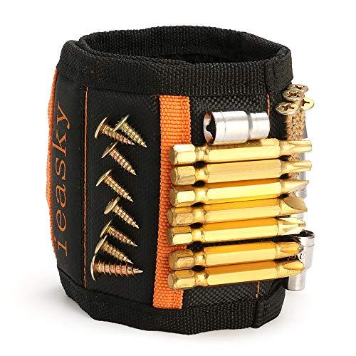 Magnetarmband Handwerker, Magnetisches Armband mit 15 Starken Magneten, Werkzeug Geschenk, Magnetische Armbänder für Schrauben, NäGel und Bits, Geschenke für Männer Zum Geburtstag