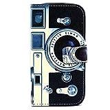DETUOSI Samsung S3 Neo Lederhülle,PU Leder Wallet Case Folio Schutzhülle für Samsung Galaxy S3 I9300 / S3 Neo Etui Tasche Handyhülle Schale Flip Cover - Retro-Kamera