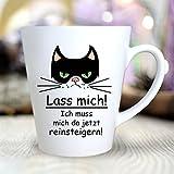 """Wandtattoo Loft® Bedruckte Konische Keramiktasse """"Lass mich...ich muss mich da jetzt reinsteigern"""" mit cooler Katze / beidseitig bedruckt / Tasse / Becher / Spülmaschinenfest / Kaffeetasse mit Motiv"""