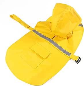 Chest:46-51cm,Neck:31-35cm S//M , Yellow Kismaple Pet Dog Raincoat Lightweight Cloth with Reflective Safe Strips Dog Raincost for Large//Medium//Small Dog Jacket
