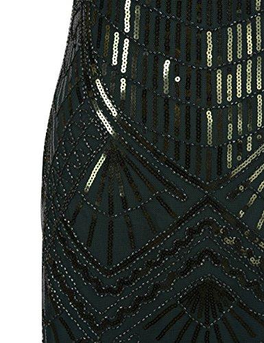 PrettyGuide Donne Roaring 20s Vintage Art Deco Paillettes Vestito Da Flapper Verde