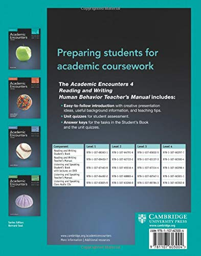 Academic Encounters 2nd 4 Teacher's Manual Reading and Writing