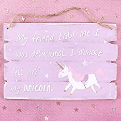 Colgante Letrero De Madera Rosa delusional Unicorn colgante placa