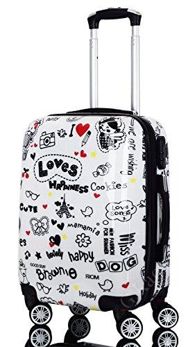 G.kaos - trolley valigia da cabina 4 ruote rigida in abs policarbonato - pellicola protettiva da rimuovere - per voli come easyjet & c. - fantasia loves happiness (loves-y 55cm)