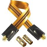 Poppstar 1 x 28cm SAT Fensterdurchführung (Koax Kabel sehr flach 0,2mm), 2x F-Stecker (1x auf IEC Antennenstecker, 1x Buchse), für Fenster - Türen, Kontakte vergoldet, orange