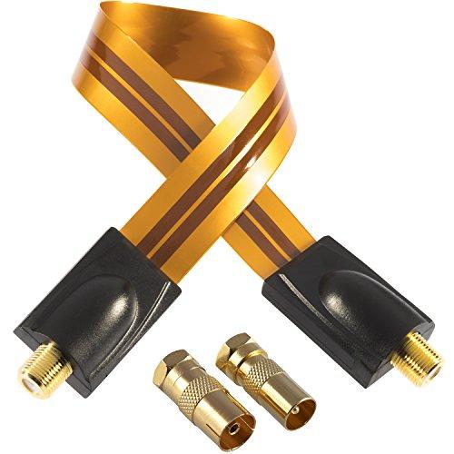 Poppstar 1x 28cm SAT Fensterdurchführung (Koax Kabel sehr flach 0,2mm), 2x F-Stecker (1x auf IEC Antennenstecker, 1x Buchse), für Fenster - Türen, Kontakte vergoldet, orange