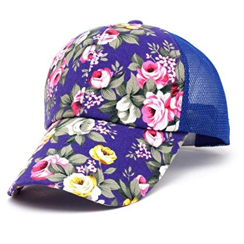 unsex Baseball Cap Ronamick Blumen Baumwolle Baseball Cap Jungen Basecap Mädchen Snapback Hip Hop Flachen Hut Kappe,baseballmütze,Mütze (Blau) -