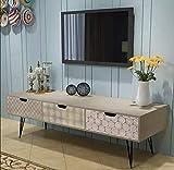 Oakome Lowboard Fernsehtisch TV Board Fernsehschrank TV Tisch TV Möbel Schrank Bank mit Schubladen